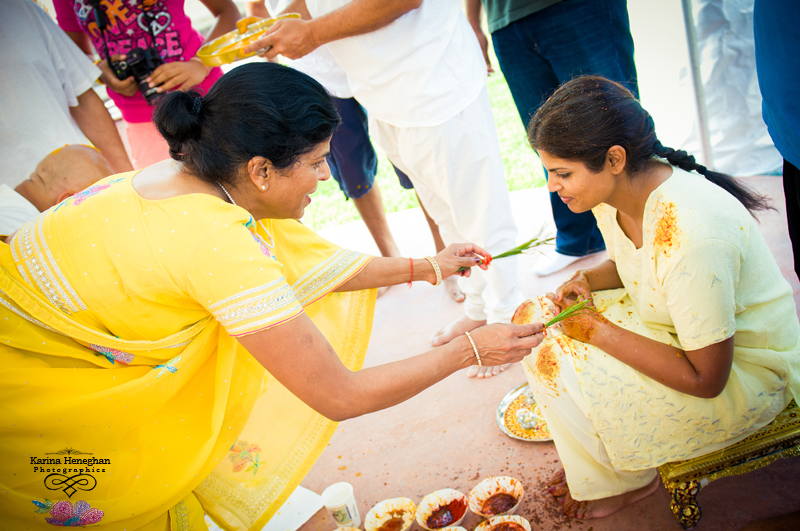 Priyas Mom Applying The Haldi Paste On Priya